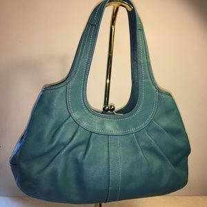 COACH Teal Blue Ergo Kiss Lock Hobo